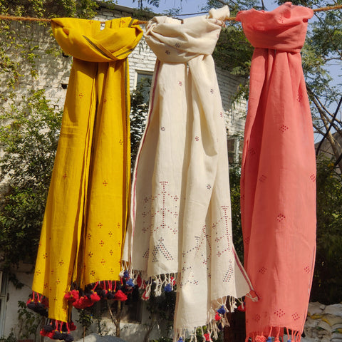 Kutch Embroidered & Handwoven Cotton, Woolen Stoles by Vankar Bhimji Kanji & Vinay Siju