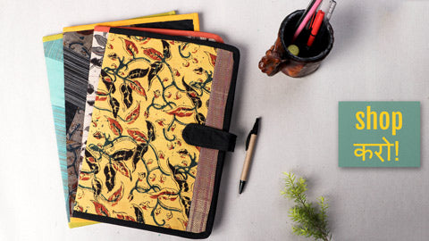 Handmade Patchwork & Kalamkari Printed File Folders by Jugaad