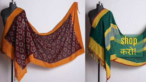 Pochampally Ikat Cotton Dupattas by Govardhan & Abhihaara from Andhra