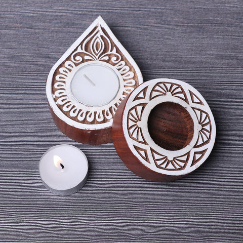 Handcarved Sheesham Wood Block Tealight Candle Holders