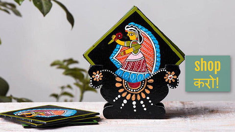Tikuli Art Handpainted Wooden Coasters