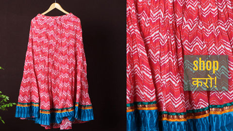 Kusumlata Hand Block Printed Cotton Crinkle Long Skirts