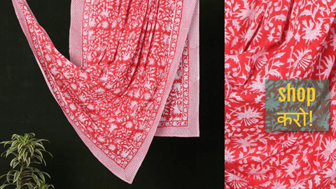 Sanganeri Block Printed Mul Cotton Dupattas/ Wrap Sarongs by Deepak Chhipa