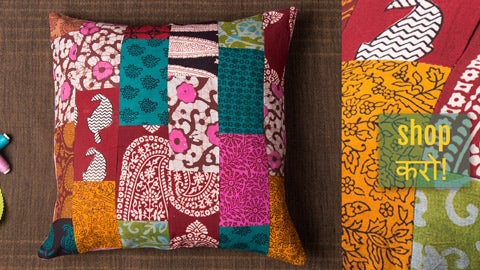 Handmade Patchwork Cotton Ikat Cushion Covers by Jalpari
