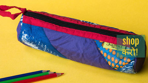 Patchwork Cotton Pencil Pouches by Jugaad
