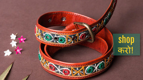 Kutchhi Hand Embroidery Mirror Work Pure Leather Belts