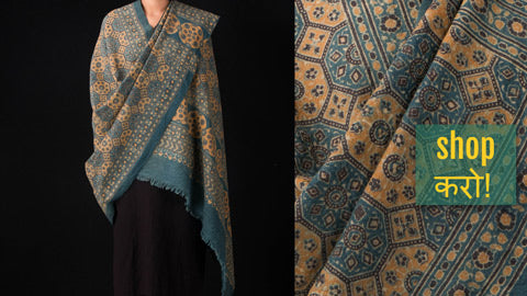 Ajrakh Woolen Shawls Hand Block Printed & Natural Dyed from Kutch
