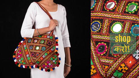 Authentic Kutchi Embroidery Mirror Work Clutches, Shoulder & Sling Bags