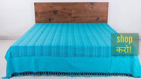 Handloom Cotton Double Bedcovers from Bijnor by Nizam