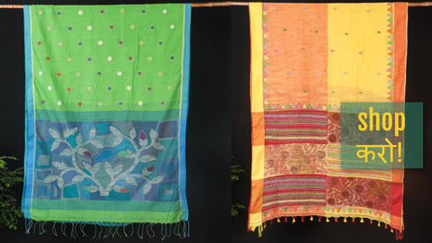 Original Bengal Kantha Hand Embroidered Cotton & Tussar Sarees of Bengal by Alima Khatun