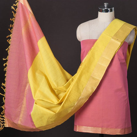 Original Mangalgiri Handloom Cotton 3pc Suit Material Sets