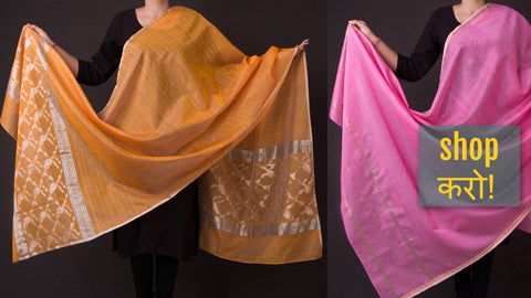 Chanderi Silk Handloom Dupattas with Zari by Rauph Khan