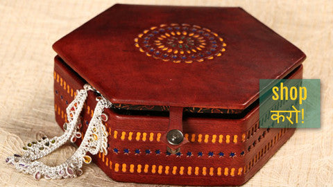 ✽ Handcrafted Kutch Leather Jewellery Boxs with Mirror by Kachchh ji Chhaap ✽