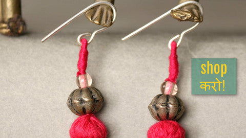 ✰ Patwa Thread Work Earrings With Beads ✰