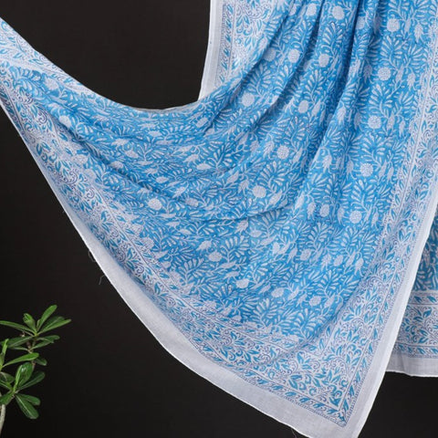 Sanganeri Hand Block Printed Mul Cotton Dupattas/ Wrap Sarongs by Deepak Chhipa