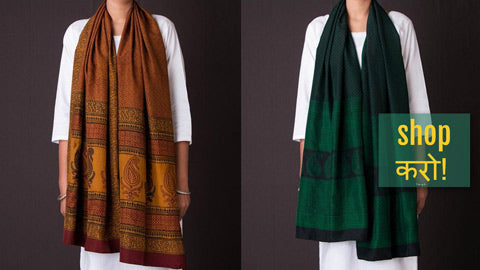 Bagh Gad Block Print Natural Dyed Stoles - Cotton, Silk & Chiffon