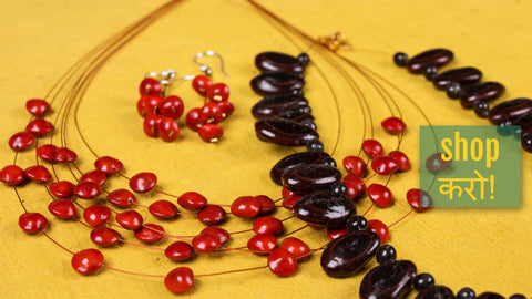 Handmade Natural Seeds Necklaces & Earrings by Shradhanjali - An Auroville Unit
