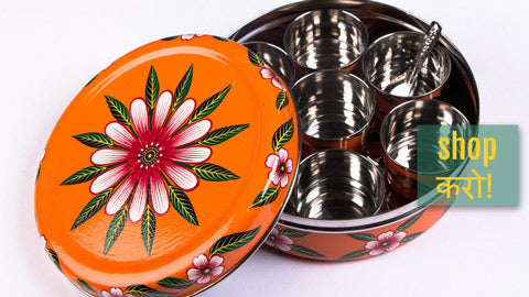 Handpainted Masala Boxes & Wooden Dolls from Banaras