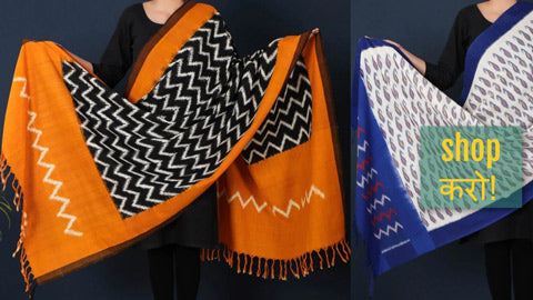 Pochampally Ikat Cotton Handloom Dupattas by Gajam Srinivas
