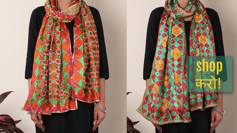 Traditional Phulkari Heavy Embroidered Jaal Cotton Stoles