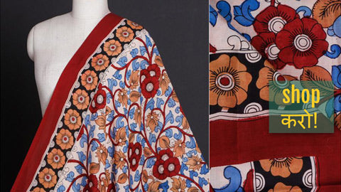 Kalamkari Pen Work & Hand Block Printed Chanderi Silk & Cotton Fabrics