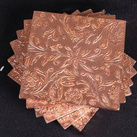 Handmade Papier Mache Metal Coated Coasters from Rampur