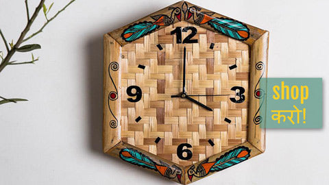 Madhubani Handpainted Bamboo Wood Wall Clocks by Bindu Jha