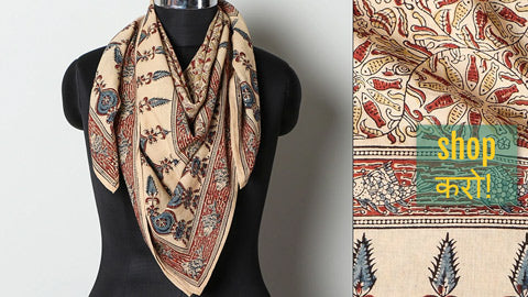 Original Pedana Kalamkari Block Printed Natural Dyed Cotton Scarves