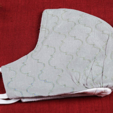 Chikankari & Aari Hand Work Snug Fit 3 Layer Face Covers