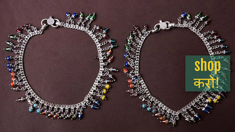 Traditional Silver Chandi Payals with Beads & Stones