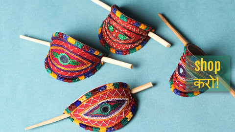 Kutchi Embroidery Mirror Work Leather Hair Pins with Wood Stick