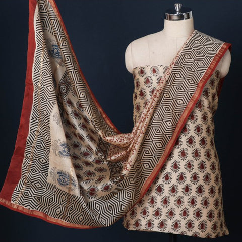 Sanganeri, Bagru, Shibori & Batik Print 3pc Suit Material Sets in Chanderi Silk, Kota Doria & Cotton