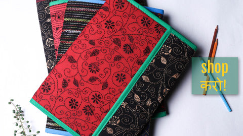 Bengal Kantha Work Handcrafted File Folders by Asalkaar