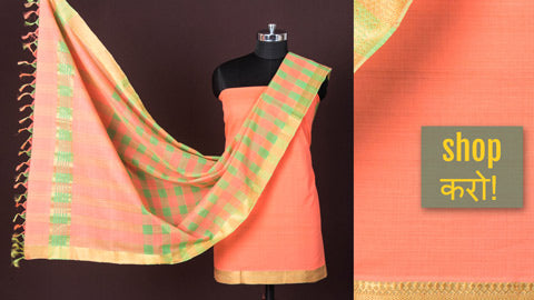 Original Mangalgiri Handloom Cotton, Tissue Cotton & Silk Cotton 3pc Suit Materials by Lakshman Rao