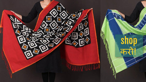Pochampally Ikat Cotton Handloom Dupattas by A.G. Govardhan