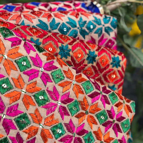 Traditional Phulkari Hand Embroidered Silk & Cotton Dupattas