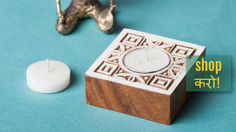 Hand Carved Sheesham Wood Block Tealight Candle Holders