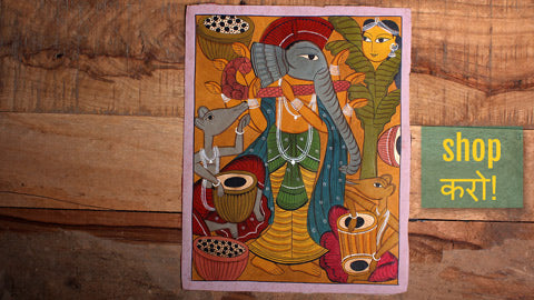 Traditional Handpainted Patua Paintings from Paschim Medinipur by Laltu Chitrakar