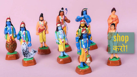 Handpainted Terracotta Bobble Head Toys & Magnets by Mahesh Kumar