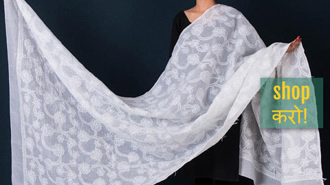 Lucknow Chikankari Hand Embroidered Cotton Dupattas