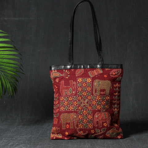 Kantha Hand Embroidered Bags & Handcarved Natural Wooden Trays by SASHA