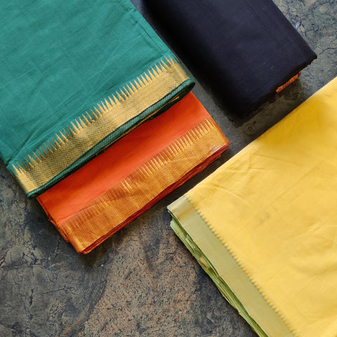 Original Mangalgiri Handloom Zari Border Cotton Fabrics by Lakshman Rao