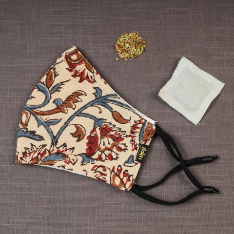 Herb Pocket Snug Fit & Pleated Face Covers in Block, Batik Print & Ikat Weaves