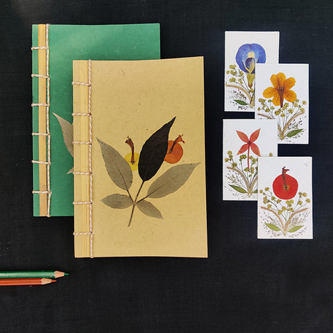 Natural Flower Art Work Handmade Notebooks & Greeting Cards by Shradhanjali