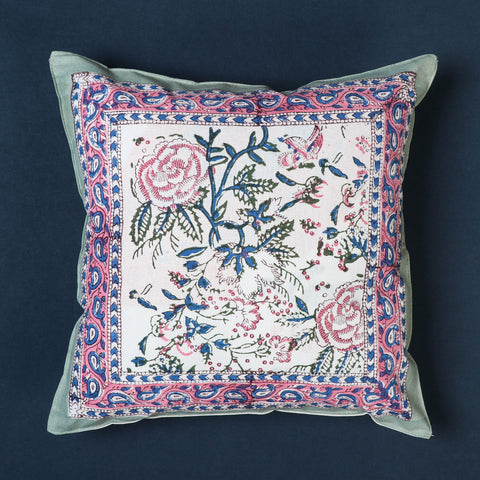 Sanganeri Block Print Cotton Cushion Covers by Uttam Nagar