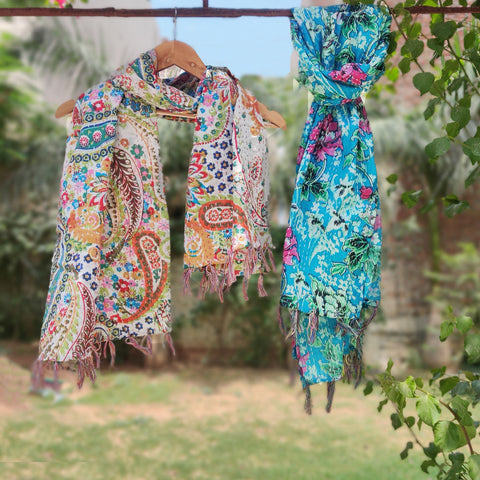Kantha Hand Embroidery Reversible Cotton Stoles