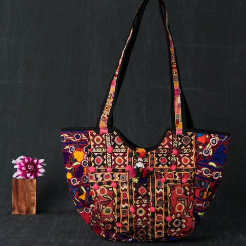 Traditional Kutchi Embroidery Mirror Work Shoulder & Sling Bags