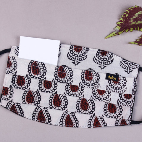 Bagh Block Print Cotton Pleated & Snug Fit Face Covers