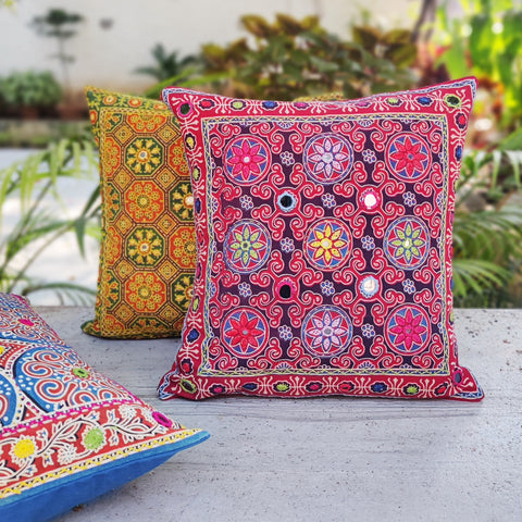 Kantha Hand Embroidered Pure Silk & Cotton Cushion Covers by SASHA