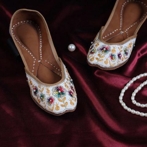 Handstitched Leather & Jaipuri Bead Work Flat Slippers, Juttis